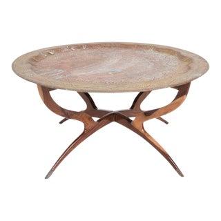 Hollywood Regency Oriental Brass Top Tray Rosewood Base Coffee Table
