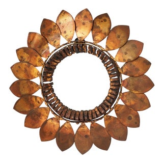 C. Jere Mixed Metal 'Sunflower' Vanity Mirror, 1968