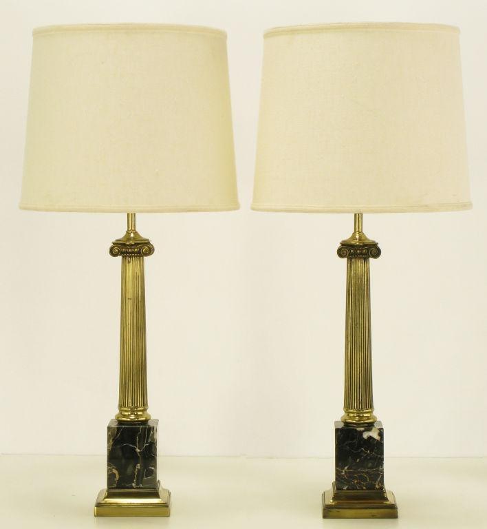 Pair Brass U0026 Black Portoro Marble Ionic Column Table Lamps   Image 2 ...