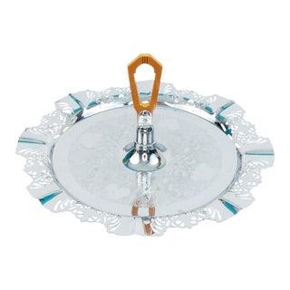 Art Deco Krome Kraft Chrome & Bakelite Tidbit Serving Tray