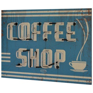 Neon Sign Promoting Coffee Shop