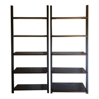 Contemporary 5-Tier Ladder Form Bookcases - a Pair