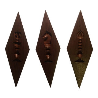 Mid-Century Modern Chess Pieces Wall Hanging - Set of 3