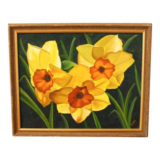 Vintage Oil Painting - Yellow Daffodils
