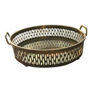 Pierced Brass Tray with Handles