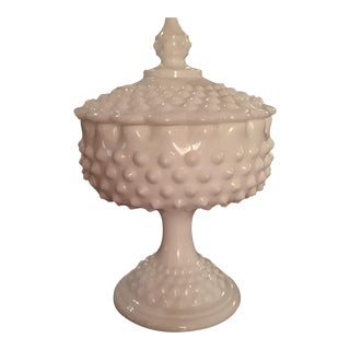 Fenton Hobnail Milk Glass Candy Dish