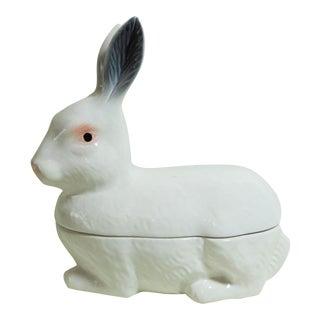 White Majolica Rabbit Tureen