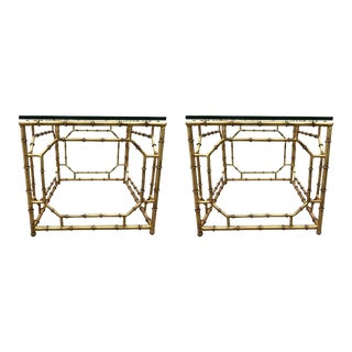 Pair of Hollywood Regency Gilt Metal Faux Bamboo Tables