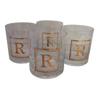 "Vintage Gold Monogram ""R""Lo-Ball Glasses - Set of 4"