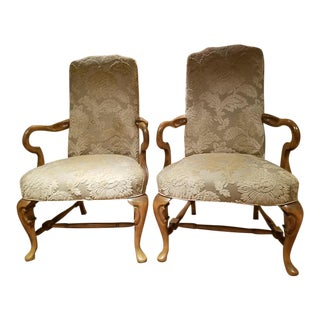 French Beige Bergere Armchairs - A Pair