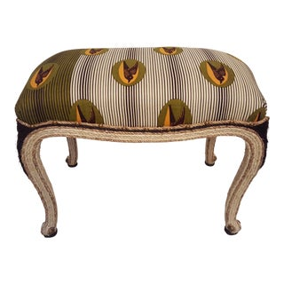Sisal Bench with Wax Print Fabric