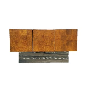 Mid Century Patchwork & Chrome Base Credenza by Milo Baughman for Thayer Coggin