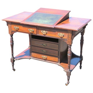 Edwardian Davenport Style Inlaid Leather Top Desk