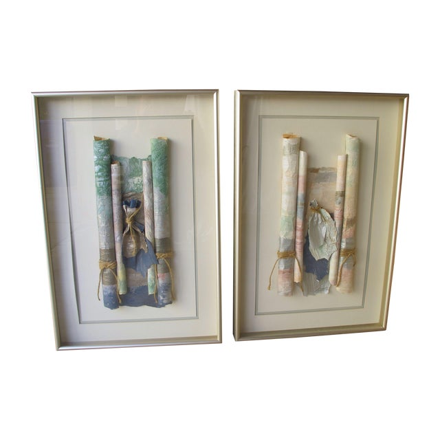 Image of Rolled Paper Collage Art - A Pair