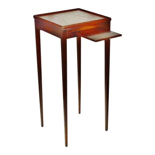 Early Wood Side Table with Pull Out Tray Candle Stand, Plant Stand, Telephone Stand