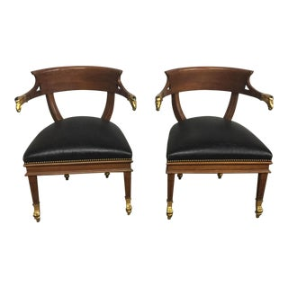 William Switzer Federalist Style Eagle Arm Armchairs - a Pair