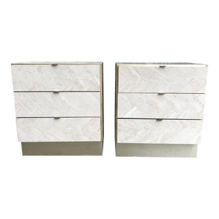 Ello Travertine and Brass Side Tables- A Pair