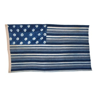 Custom Tailored Blue & White Flag Created From Vintage African Fabrics