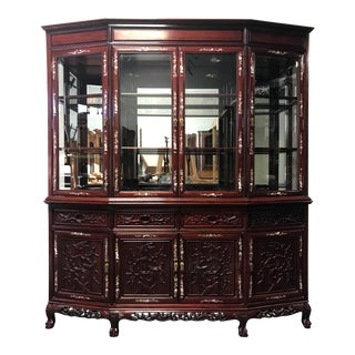 Vintage Rosewood with Mother of Pearl Inlay Asian China Display Cabinet