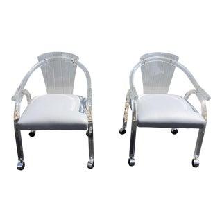 Vintage Lucite & Vinyl Seats Chairs - A Pair