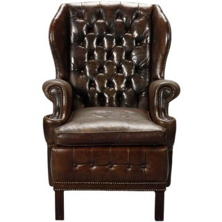 English Brown Leather Tufted Library Wing Chair