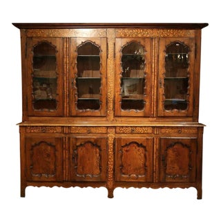 19th Century French Walnut Inlay Four-Door Cabinet