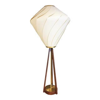 Mid Century Danish Modern Sculptural Walnut Table Lamp