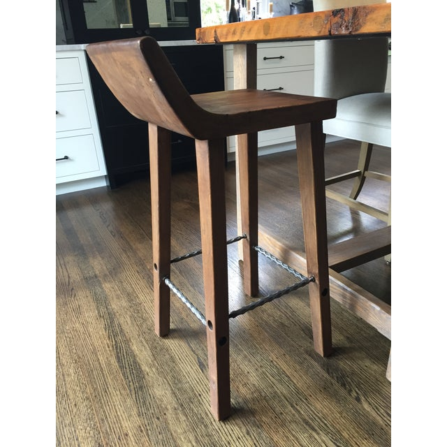 Reclaimed Elm Wood Bar Stools -- A Pair - Image 7 of 7