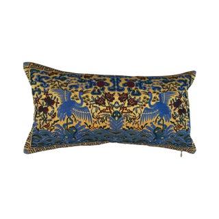 Chinoiserie Silk Crane Boudoir Pillow