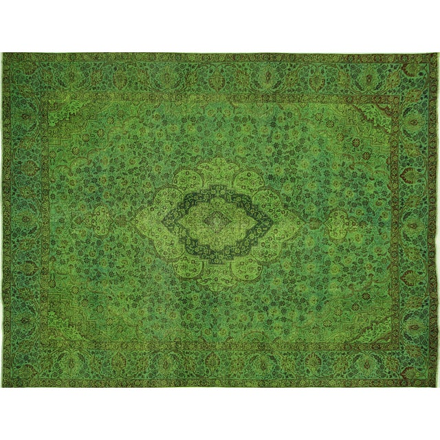 """Lime Green Overdyed Tabriz Area Rug - 9'5"""" x 12' - Image 1 of 10"""
