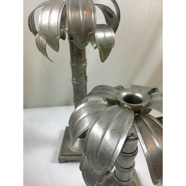 Palm Tree Metal Candleholders - Pair - Image 4 of 4