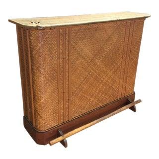 Vintage Bamboo Rattan & Wood Home Bar
