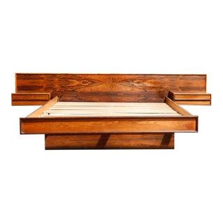 Mid-Century Modern Brazilian Rosewood Queen Platform Bed