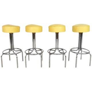 Mid-Century Vinyl & Chrome Bar Stools - Set of 4