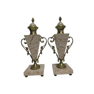 Antique French Bronze Marble Cassolettes - A Pair