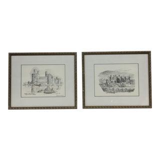 Lithograph Castle Charcoals Brian Lewis - A Pair
