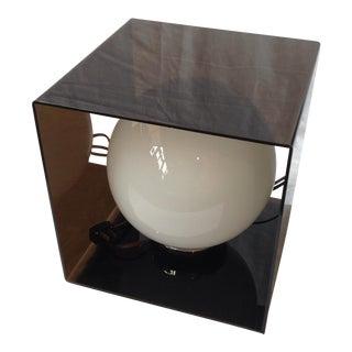Grey Lucite Cube Lamp