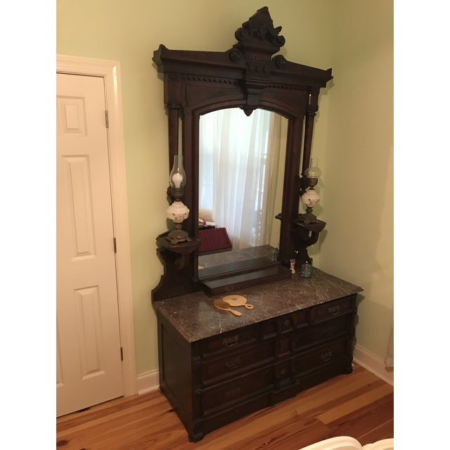 Walnut Renaissance Revival Vanity Dresser with Marble Top - Image 2 of 11