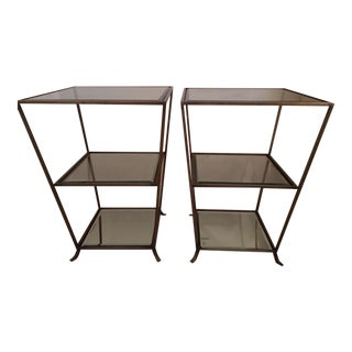 Arteriors Brass and Glass Side Tables - A Pair