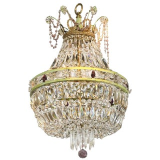 French Basket Shaped Crystal Chandelier with Accents of Amethyst Color Crystals