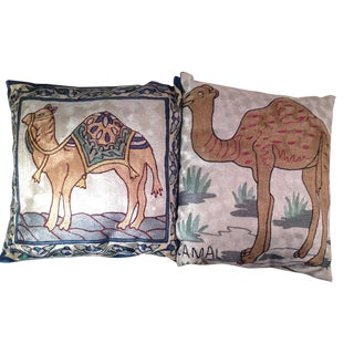Silk Embroidered Ari Pillows - A Pair