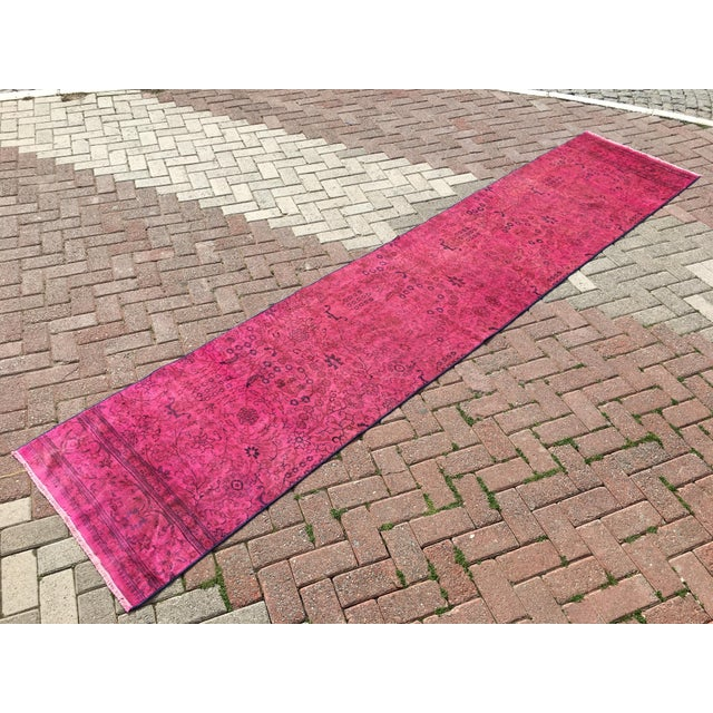 Hot Pink Overdyed Runner Rug - Image 3 of 9