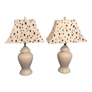 Dalmatian White Ginger Jar Lamps - A Pair