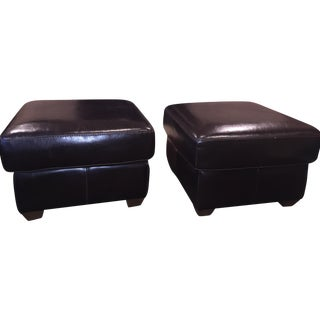 Italian Chocolate Leather Ottomans - A Pair