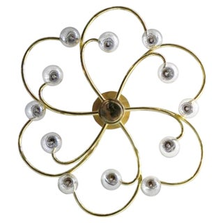 German Twelve-Arm Flush Mount Chandelier