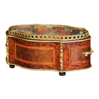 19th Century French Oval Rosewood Jardinière with Marquetry and Bronze Mounts