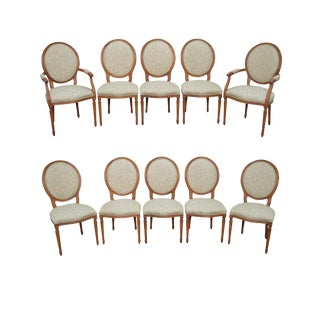 Statesville Chair Co. Set of 10 Walnut Frame French Louis XV Style Dining Chairs