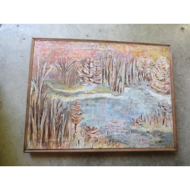 1950s Fall Landscape Painting, Signed Ellias - Image 2 of 7