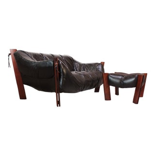 Percival Lafer MP-211 Jacaranda and Leather Two-Seat Sofa with Ottoman