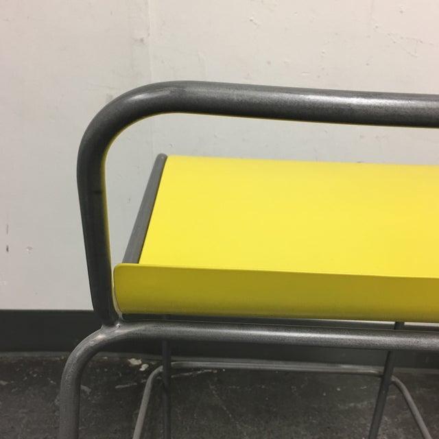 CB2 Yellow & Silver Bar Stools - A Pair - Image 8 of 8